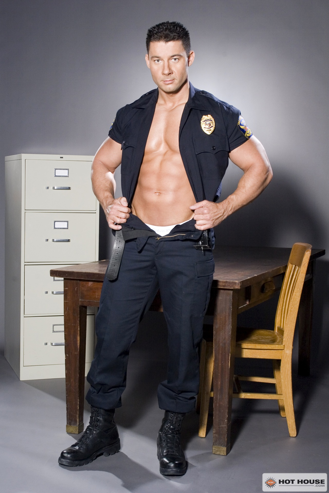 Hot gay police solo first time