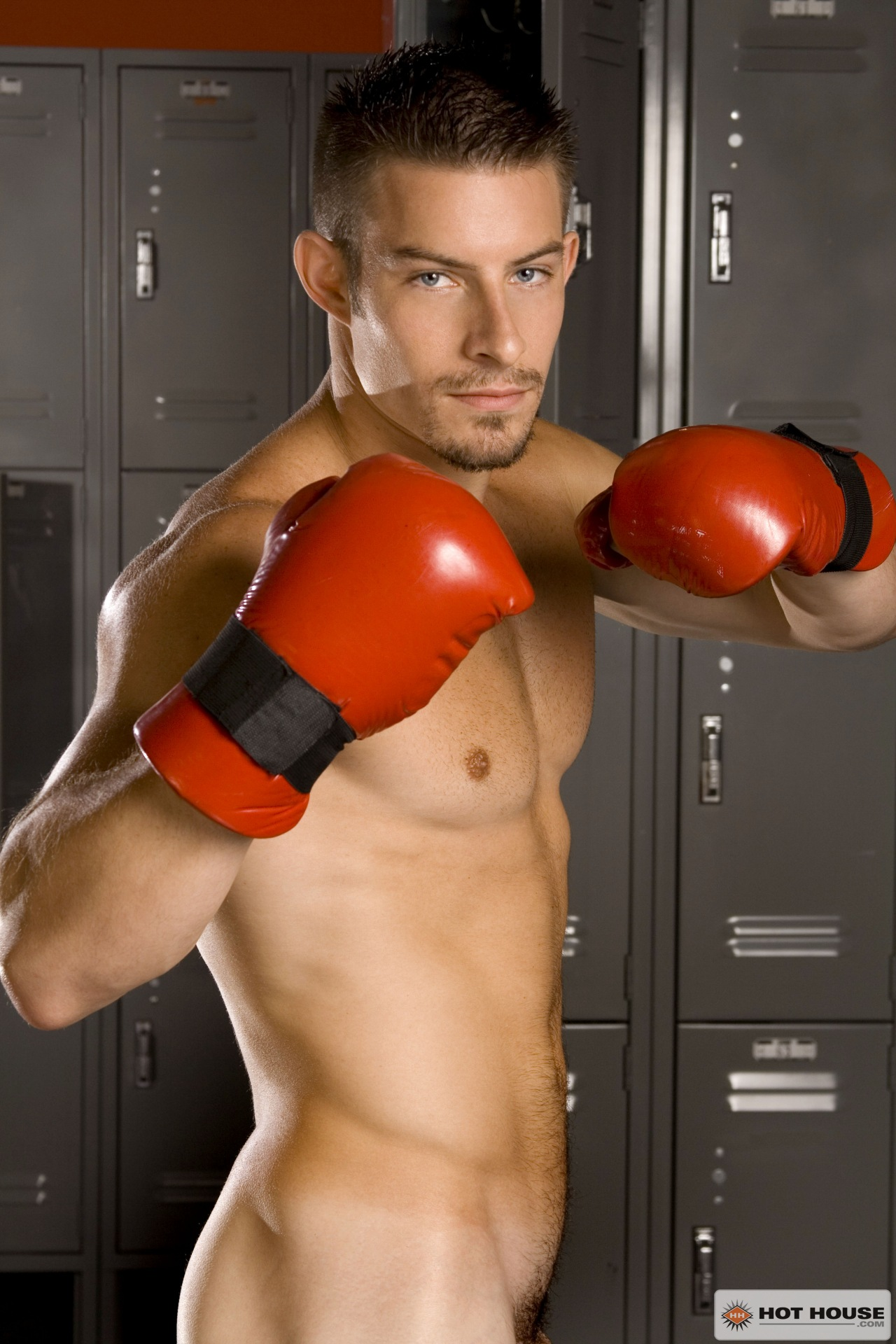 Mike Roberts, porn stars, solo, sport, locker room, boxer, big