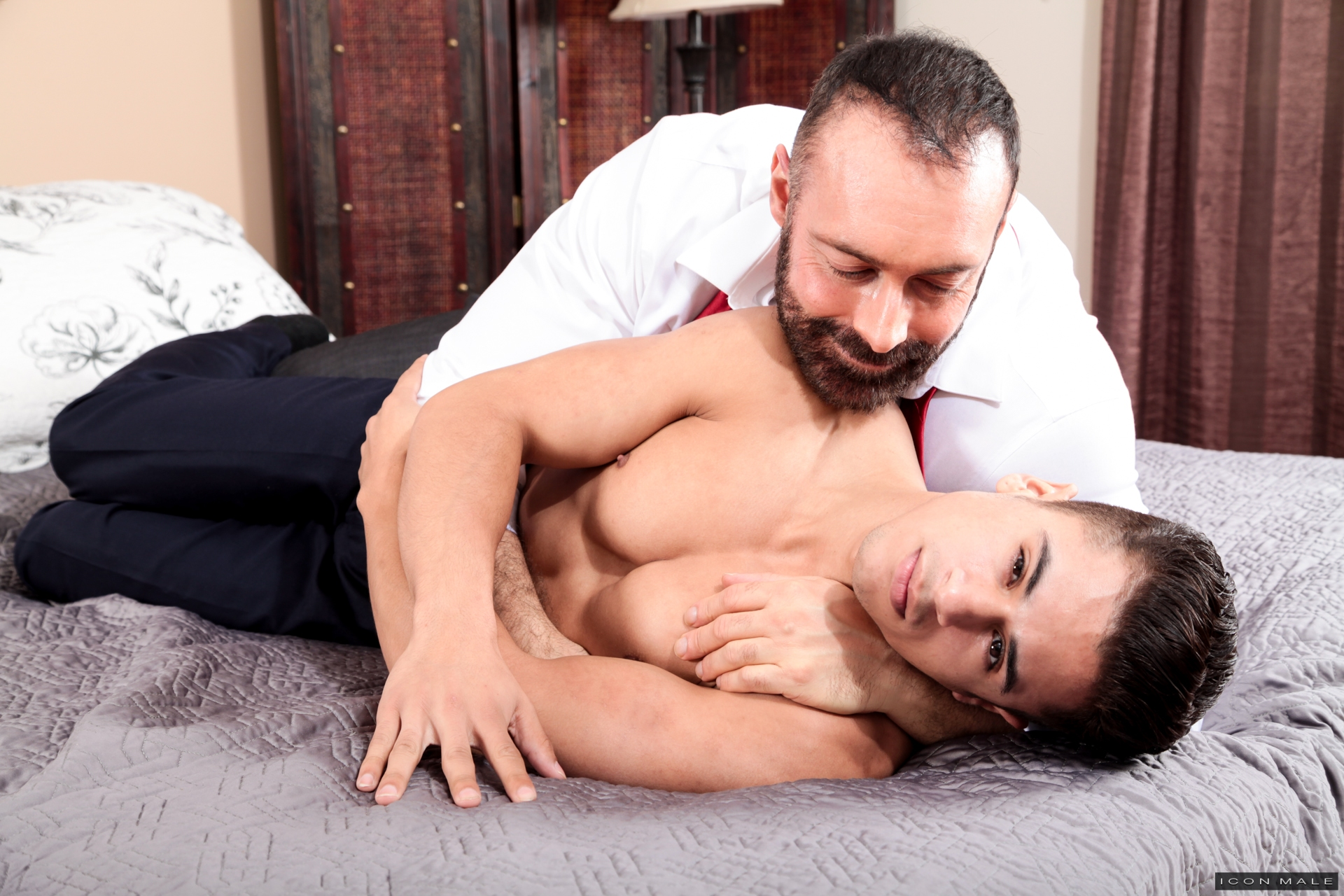 image Gay daddy porno kissing his boy muscle top